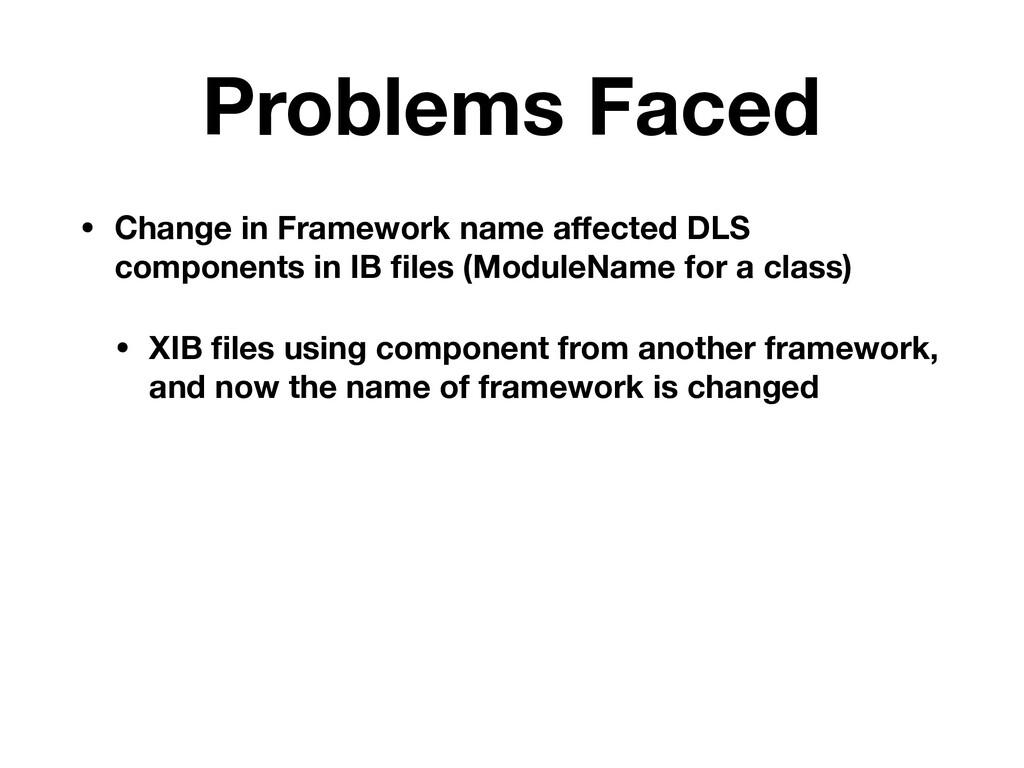 Problems Faced • Change in Framework name affect...