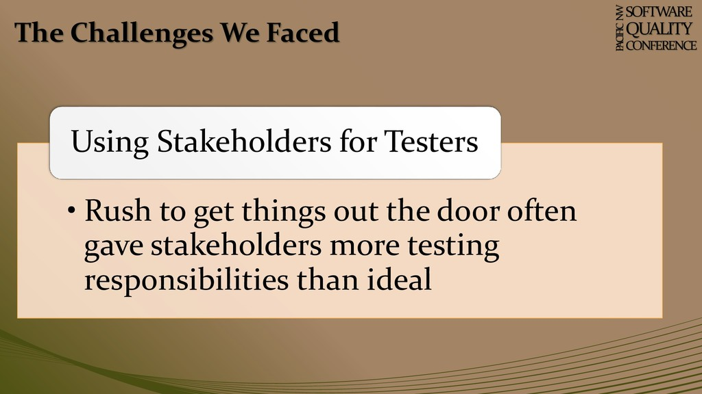 The Challenges We Faced SOFTWARE QUALITY CONFER...