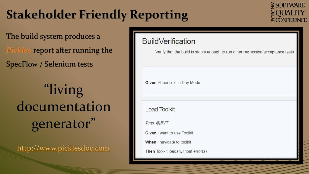 Stakeholder Friendly Reporting SOFTWARE QUALITY...