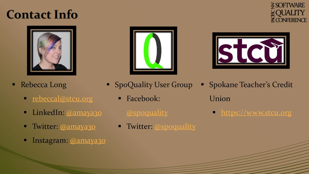Contact Info SOFTWARE QUALITY CONFERENCE P ACIF...