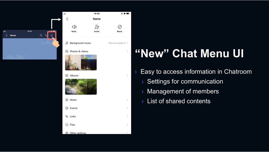 › Easy to access information in Chatroom › Sett...