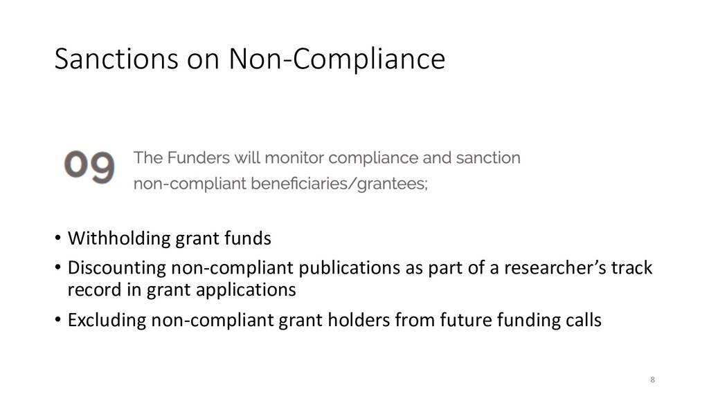 Sanctions on Non-Compliance • Withholding grant...
