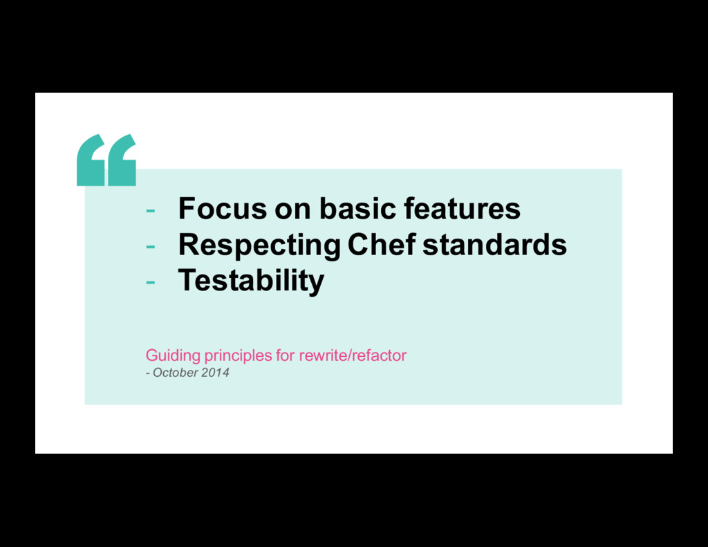 13 - Focus on basic features - Respecting Chef ...