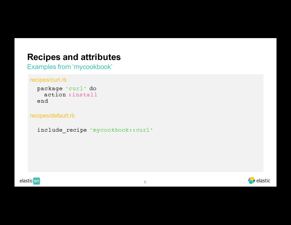 6 Recipes and attributes Examples from 'mycookb...