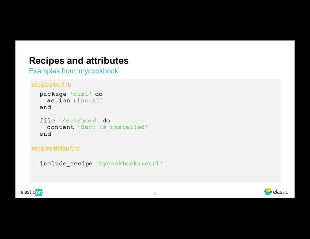 8 Recipes and attributes Examples from 'mycookb...