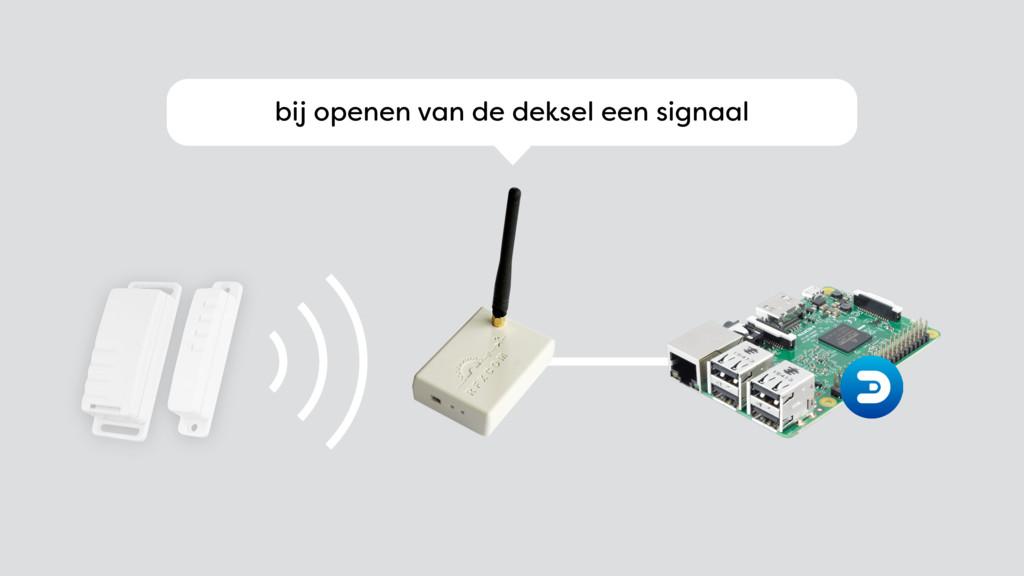 bij openen van de deksel een signaal