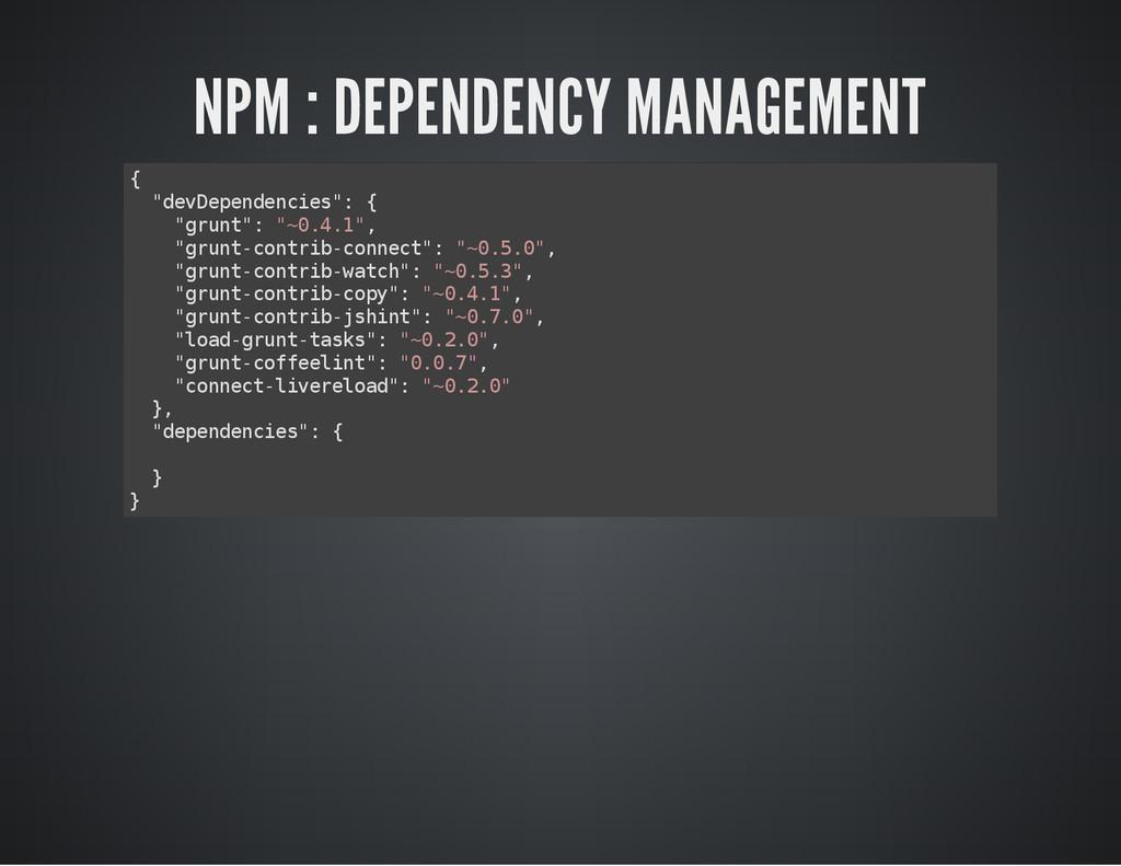 "NPM : DEPENDENCY MANAGEMENT { "" d e v D e p e n..."
