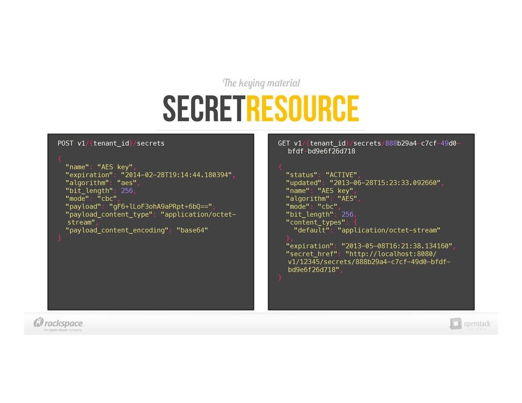 The keying material SecretResource POST v1/{ten...