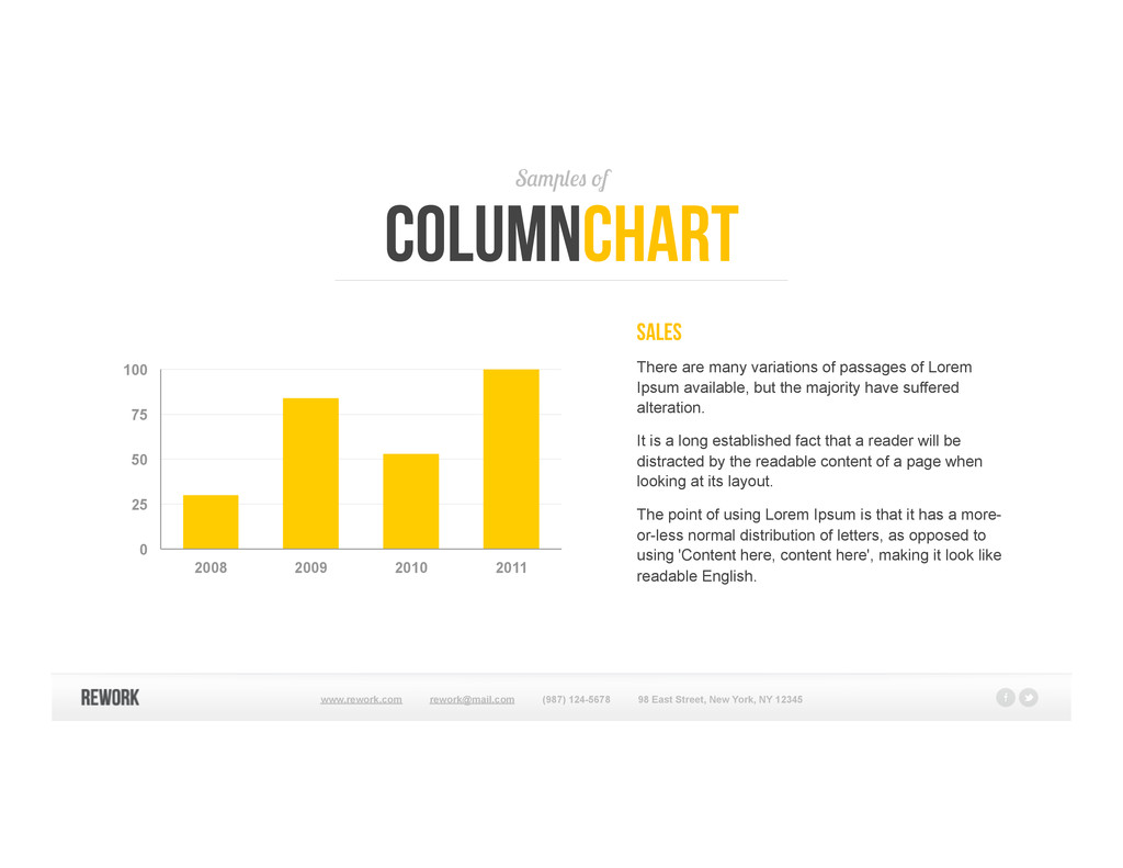 Samples of columnchart Sales There are many var...