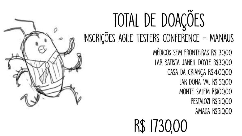 TOTAL DE DOAÇÕES INSCRIÇÕES AGILE TESTERS CONFE...