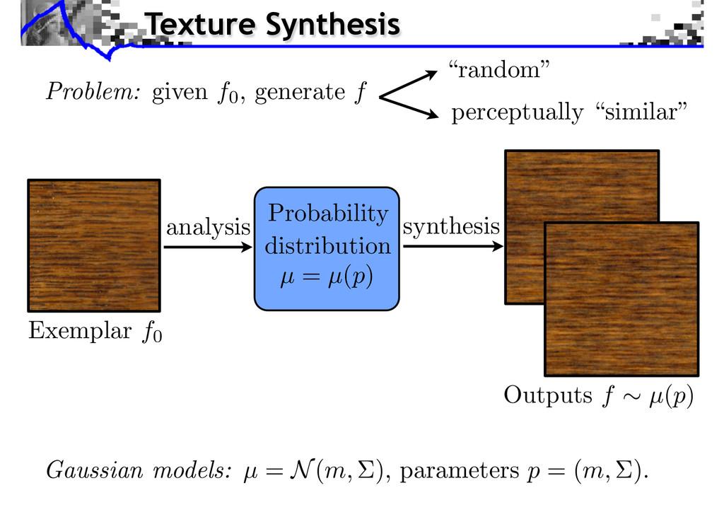 analysis synthesis Probability distribution µ =...