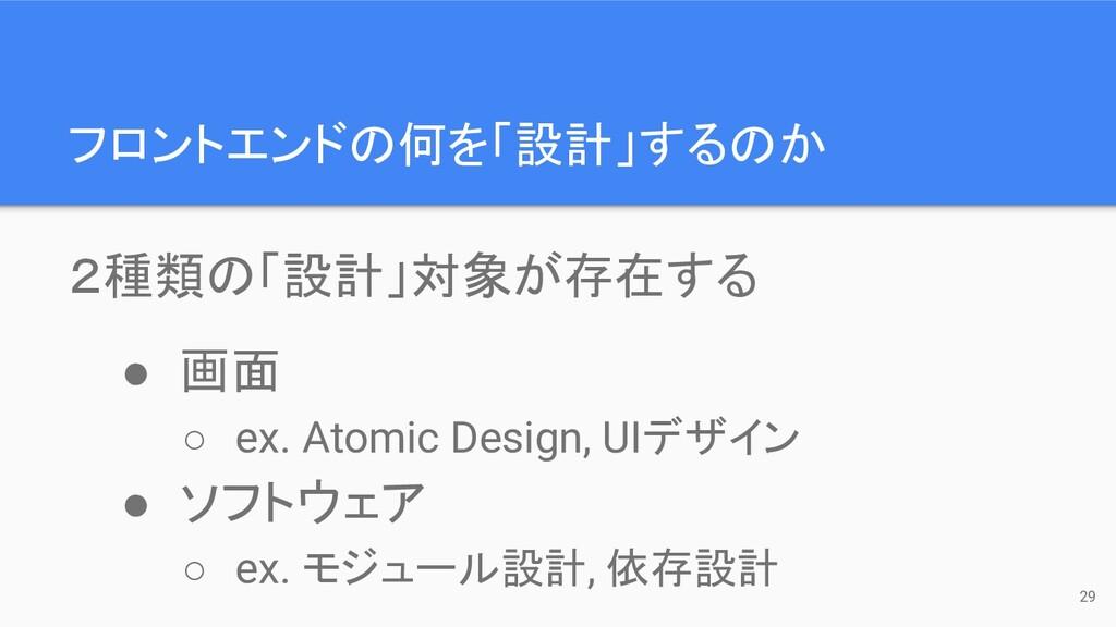 フロントエンドの何を「設計」するのか 29 2種類の「設計」対象が存在する ● 画面 ○ ex...