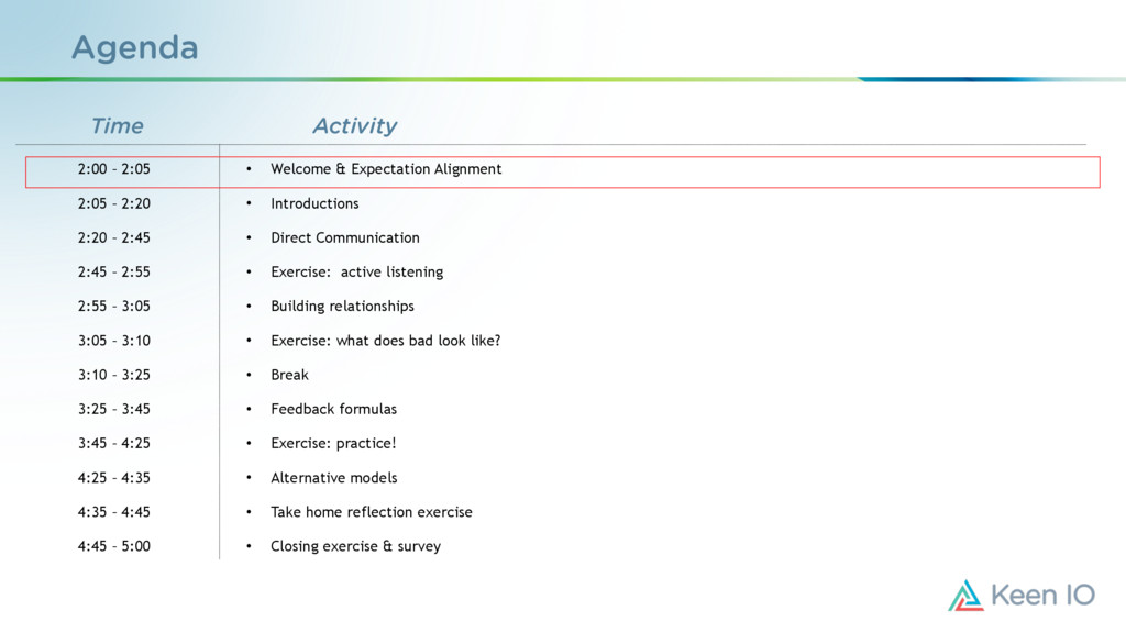 Agenda • Welcome & Expectation Alignment • Intr...