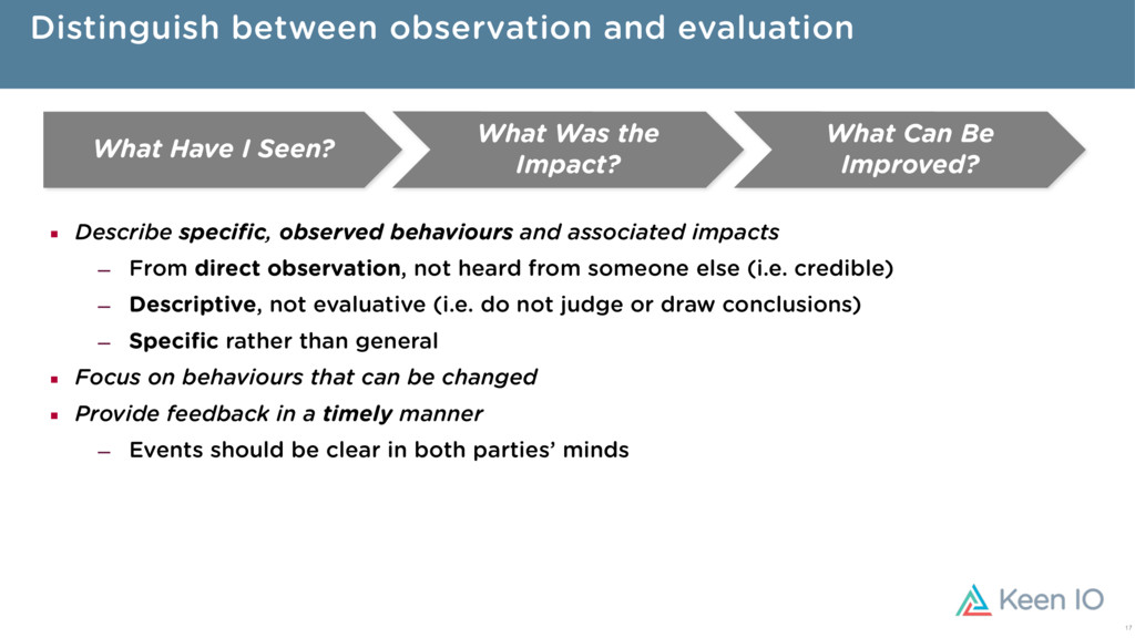 Distinguish between observation and evaluation ...