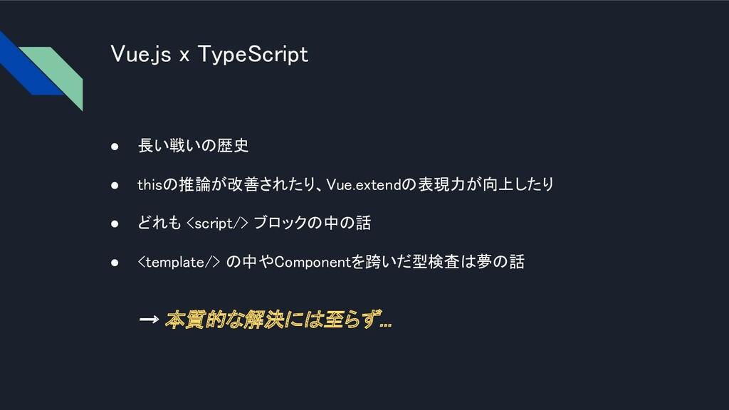 Vue.js x TypeScript ● 長い戦いの歴史 ● thisの推論が改善された...