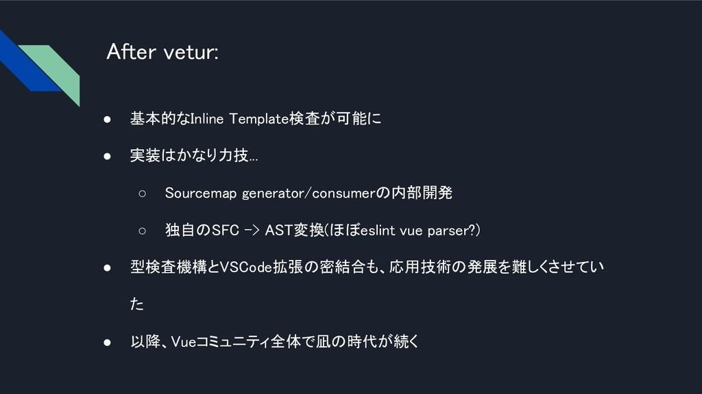 After vetur: ● 基本的なInline Template検査が可能に  ● 実...