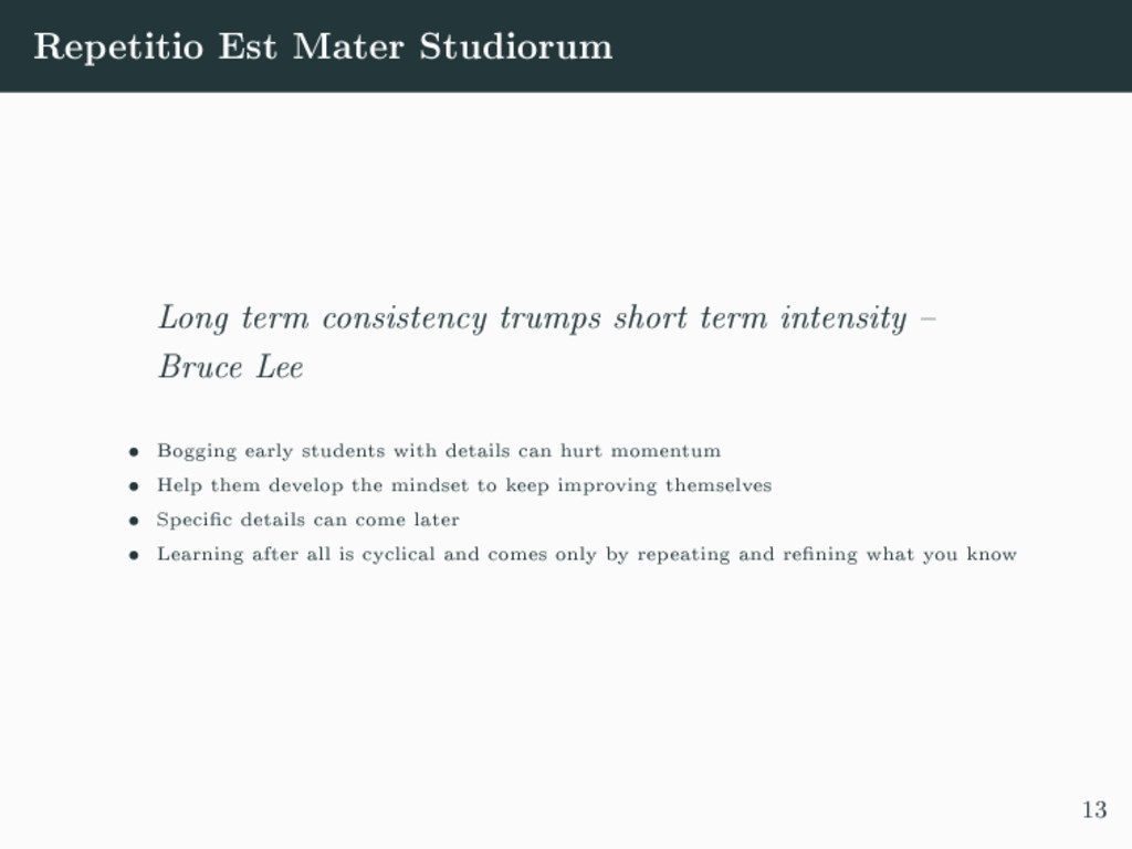 Repetitio Est Mater Studiorum Long term consist...