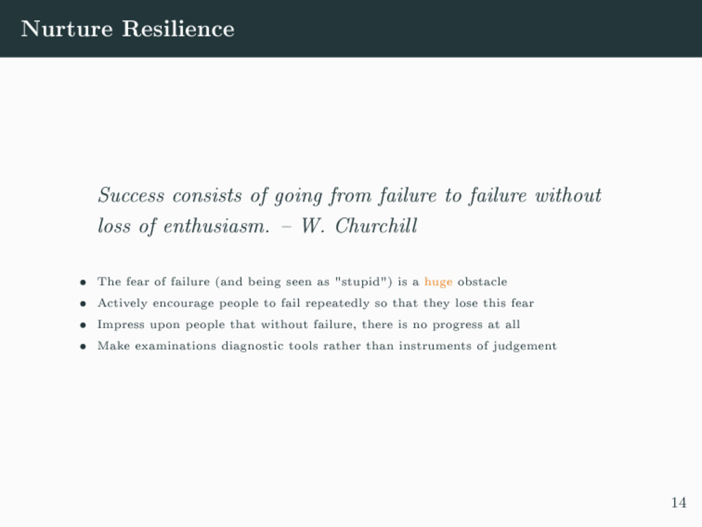Nurture Resilience Success consists of going fr...