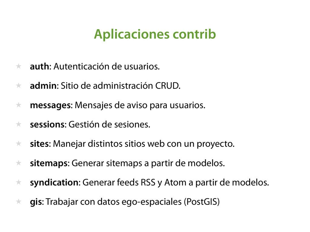 Aplicaciones contrib ★ auth: Autenticación de u...
