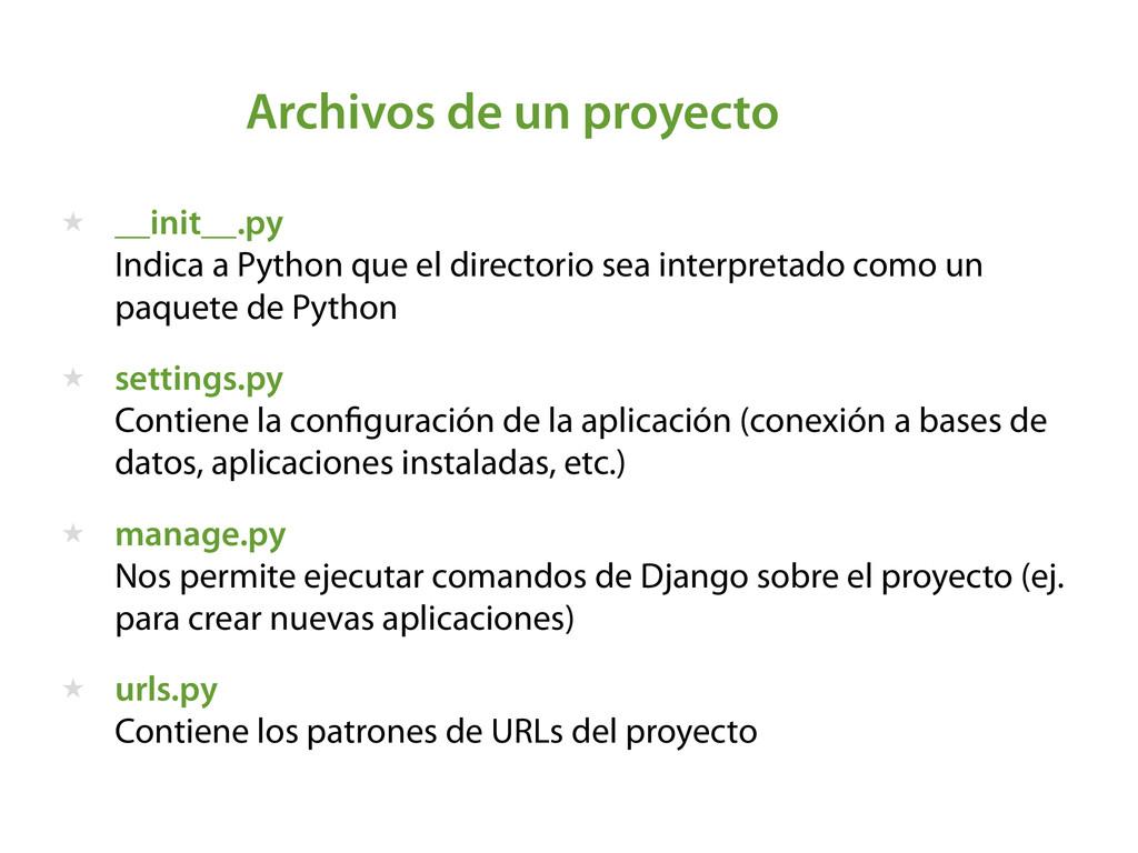 Archivos de un proyecto ★ __init__.py  Indica ...