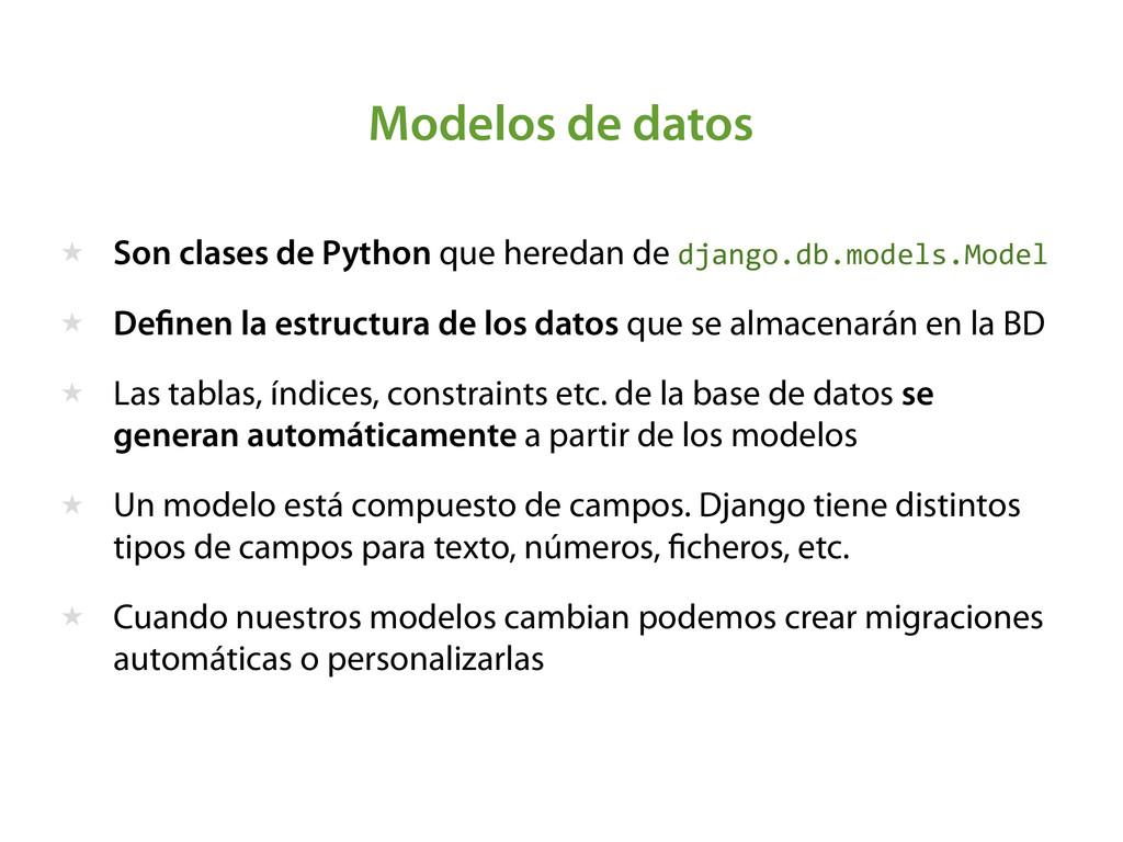Modelos de datos ★ Son clases de Python que her...