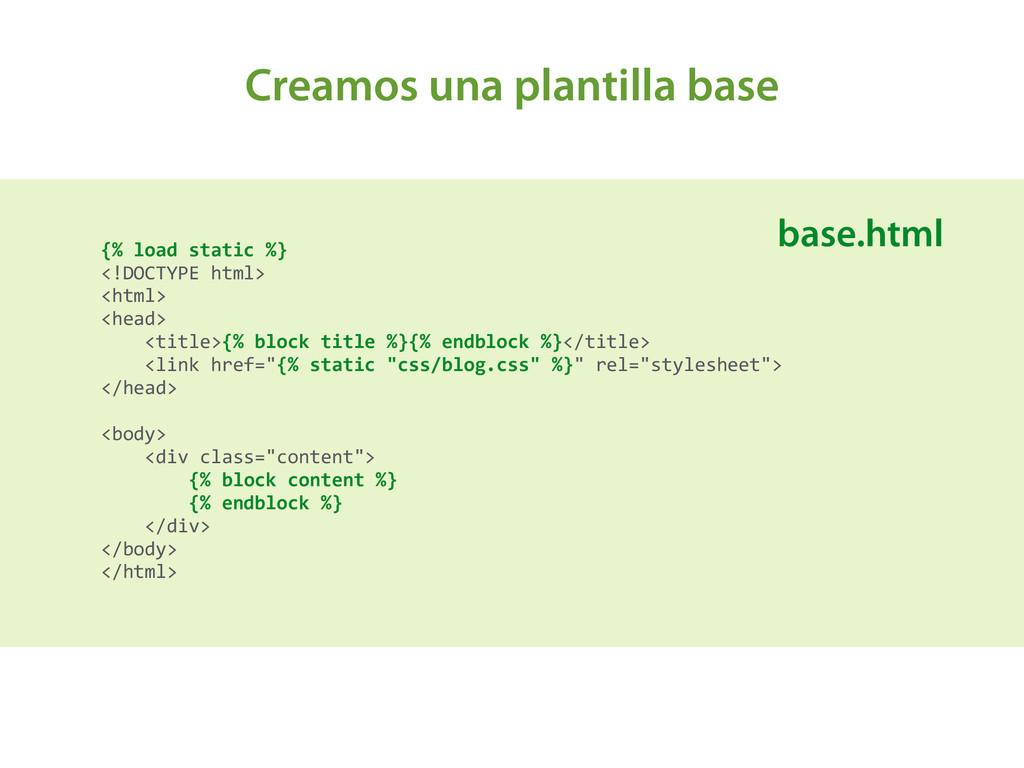 Creamos una plantilla base {% load static...