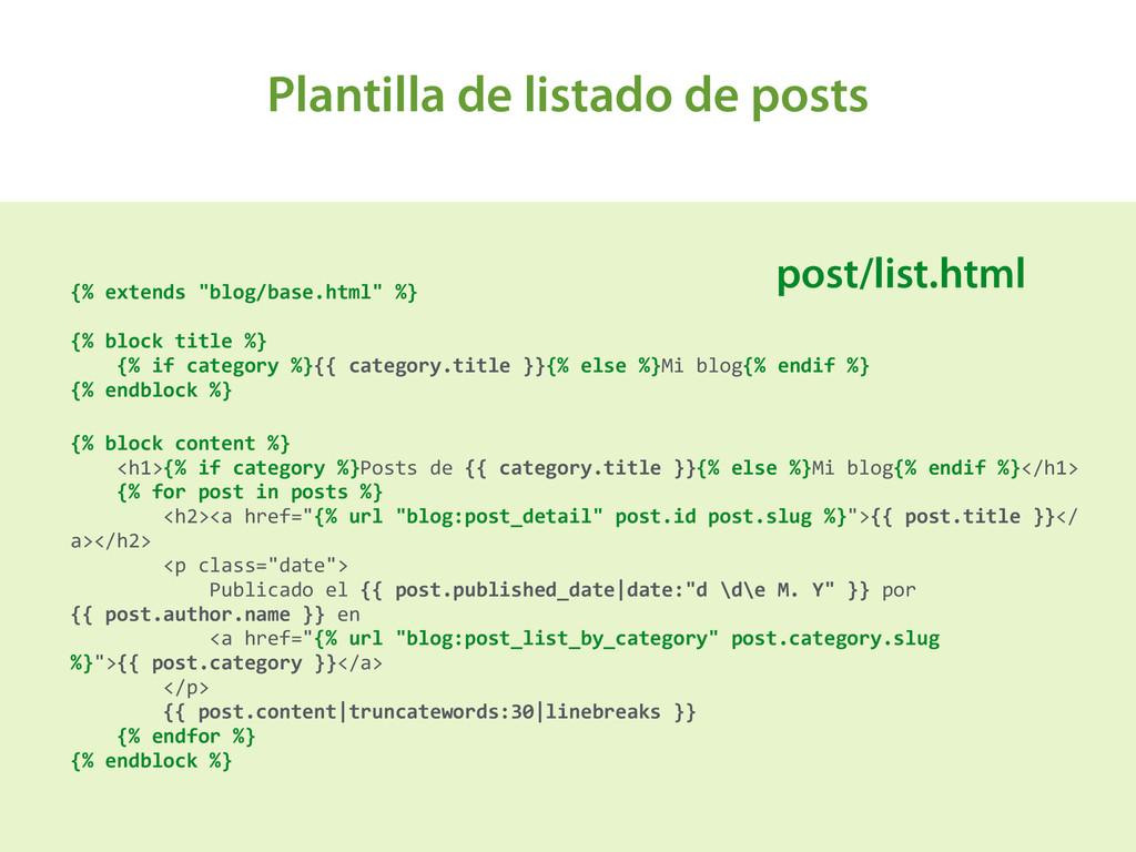 Plantilla de listado de posts A {% extends...