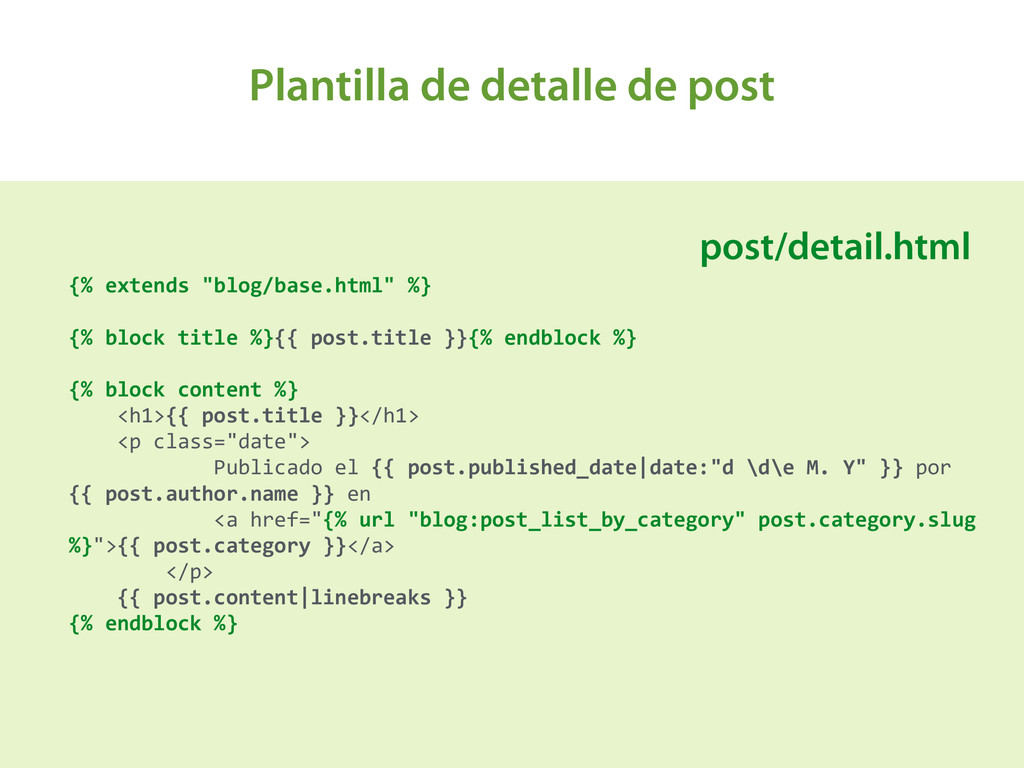 Plantilla de detalle de post A {% extends ...