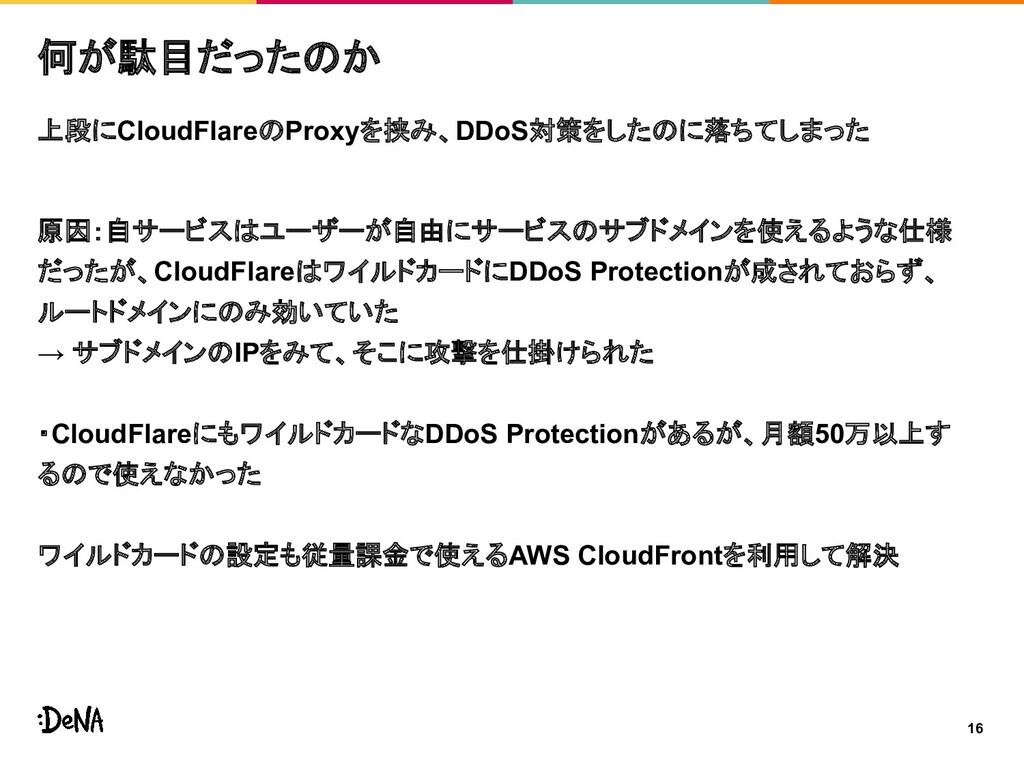 16 何が駄目だったのか 上段にCloudFlareのProxyを挟み、DDoS対策をしたのに...
