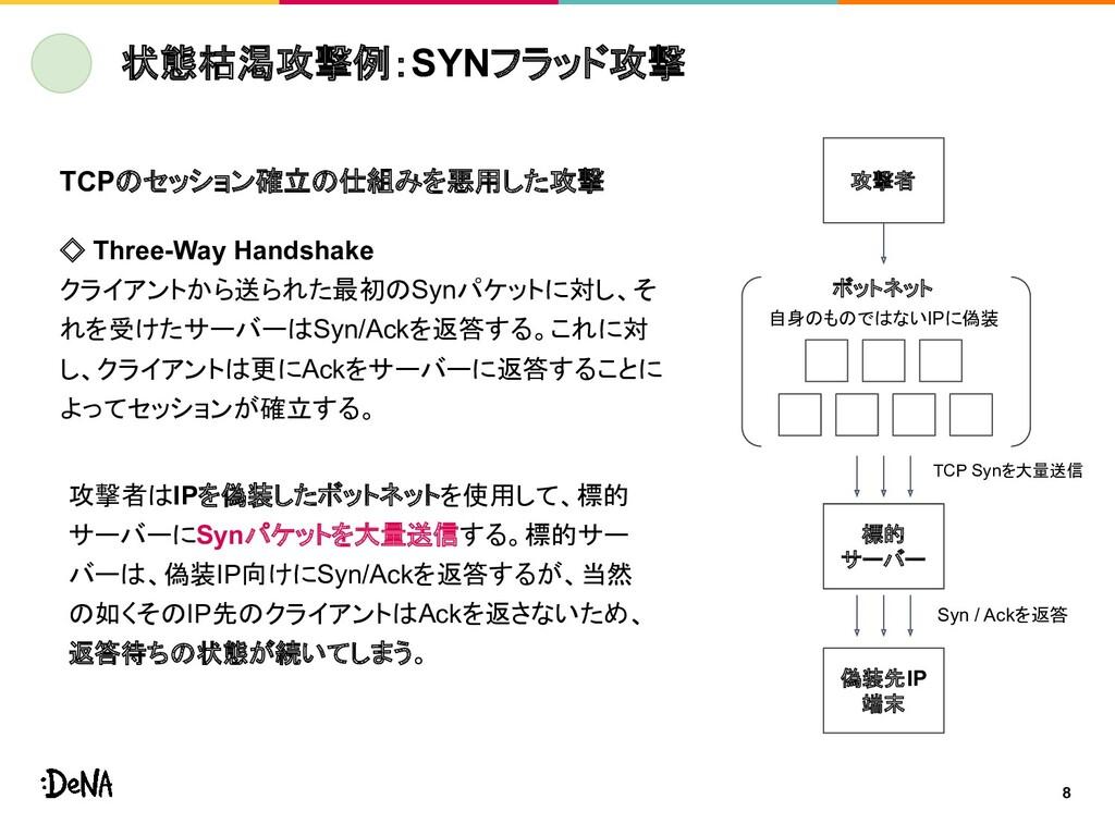 8 状態枯渇攻撃例:SYNフラッド攻撃 攻撃者 ボットネット 標的 サーバー 偽装先IP 端末...