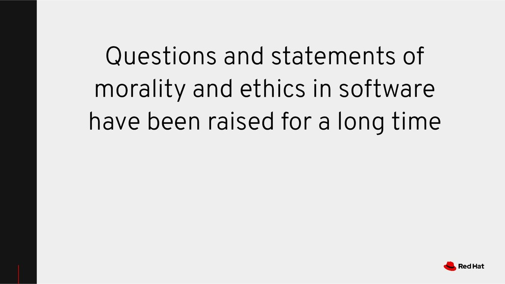 Questions and statements of morality and ethics...
