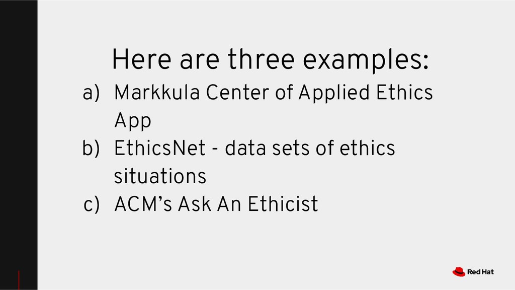 Here are three examples: a) Markkula Center of ...