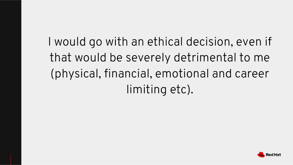 I would go with an ethical decision, even if th...