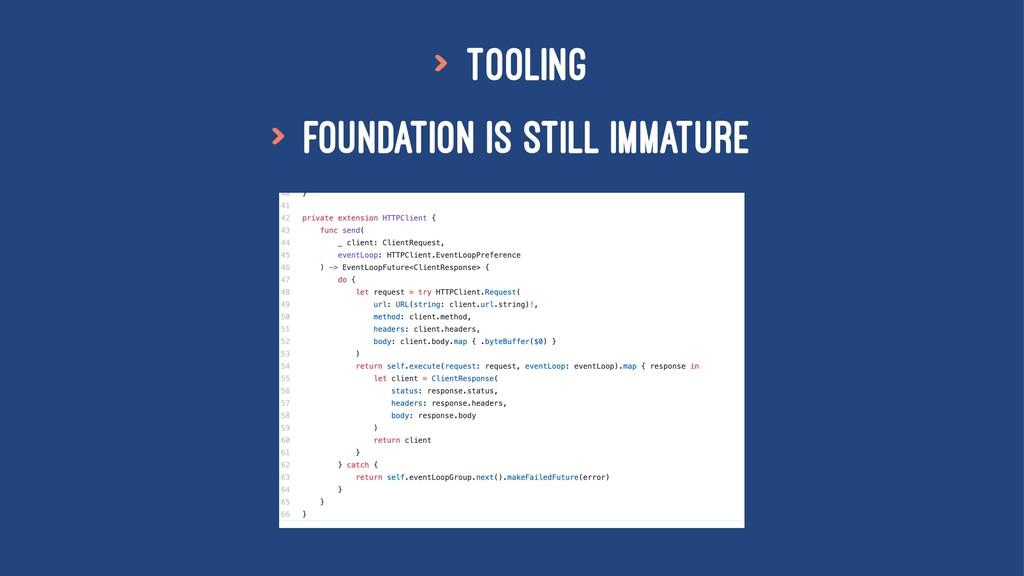 > Tooling > Foundation is still immature