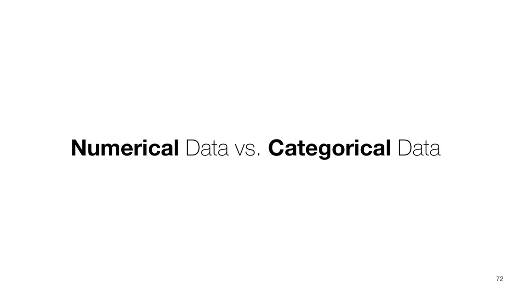 Numerical Data vs. Categorical Data 72