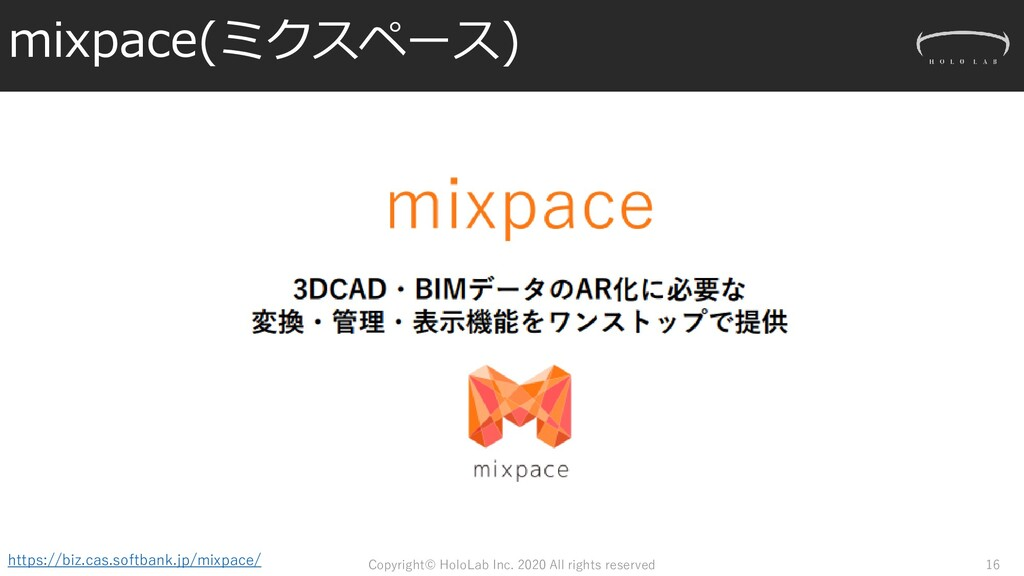 mixpace(ミクスペース) Copyright© HoloLab Inc. 2020 Al...