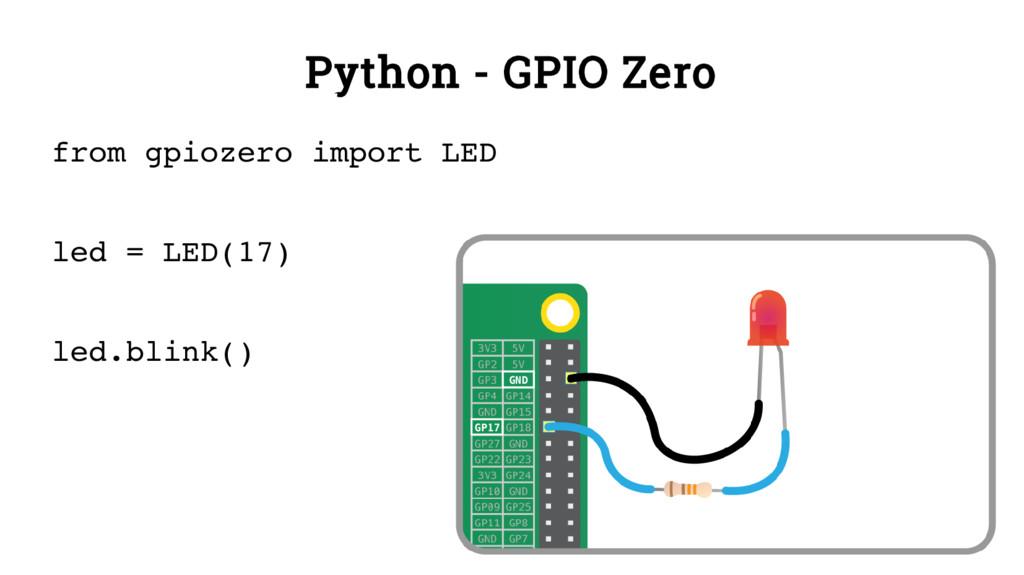Python - GPIO Zero from gpiozero import LED led...