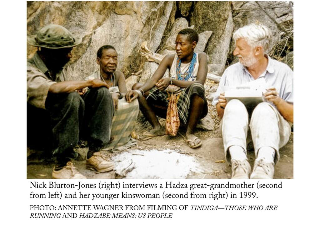Nick Blurton-Jones (right) interviews a Hadza g...
