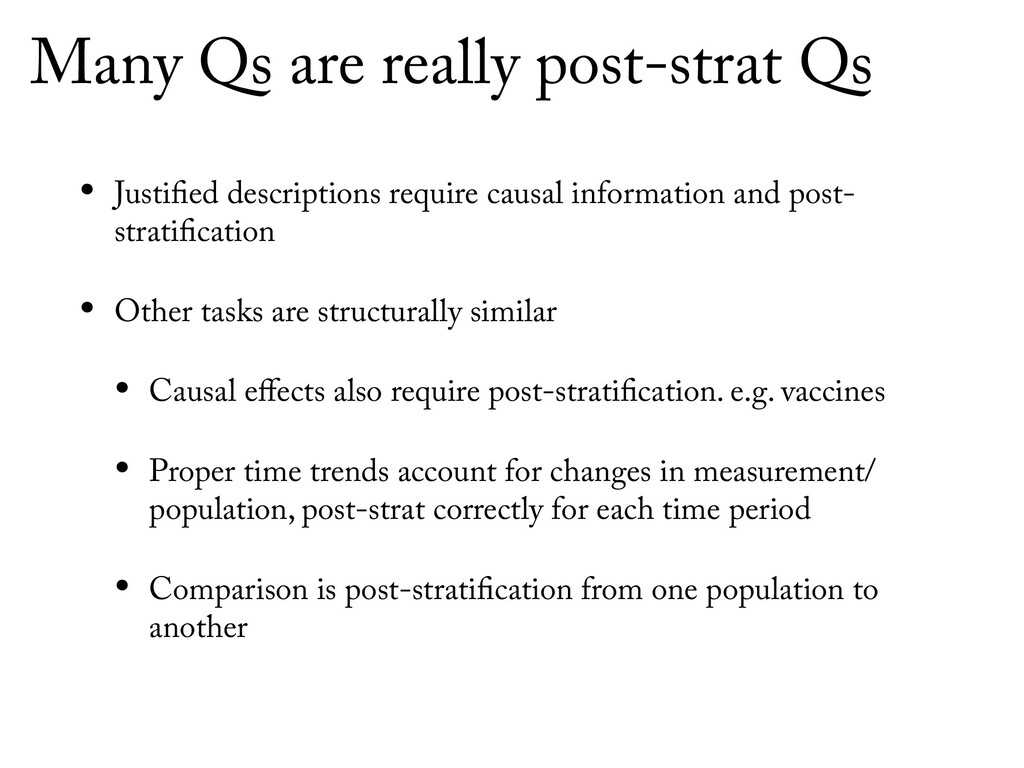 Many Qs are really post-strat Qs • Justified de...