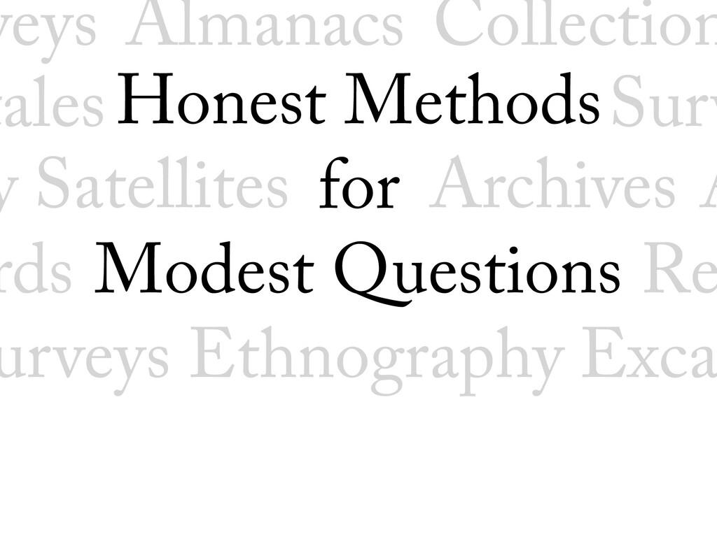 Honest Methods for Modest Questions Satellite...