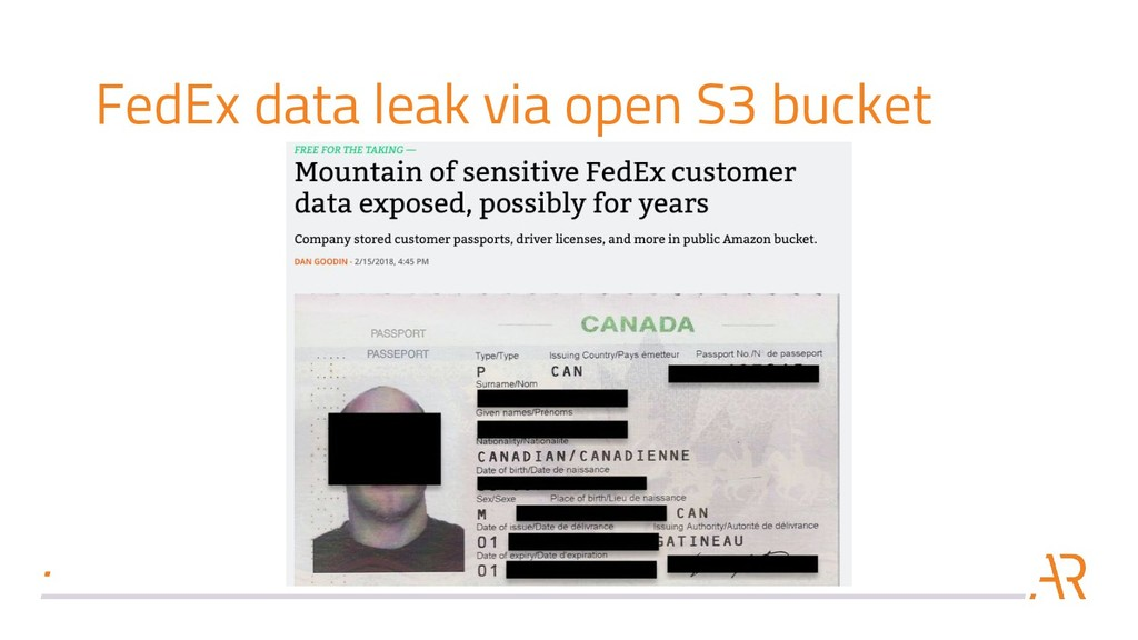 FedEx data leak via open S3 bucket