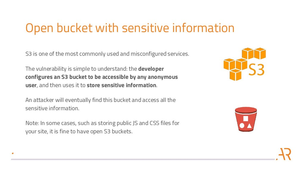 Open bucket with sensitive information S3 is on...