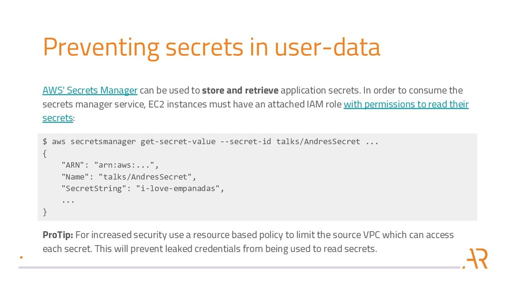 Preventing secrets in user-data AWS' Secrets Ma...