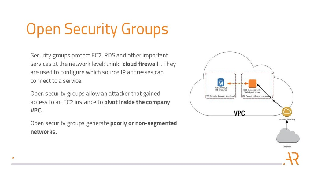 Open Security Groups Security groups protect EC...
