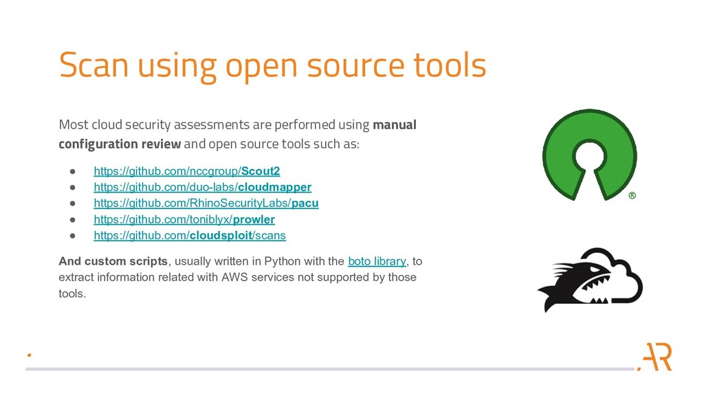 Scan using open source tools Most cloud securit...