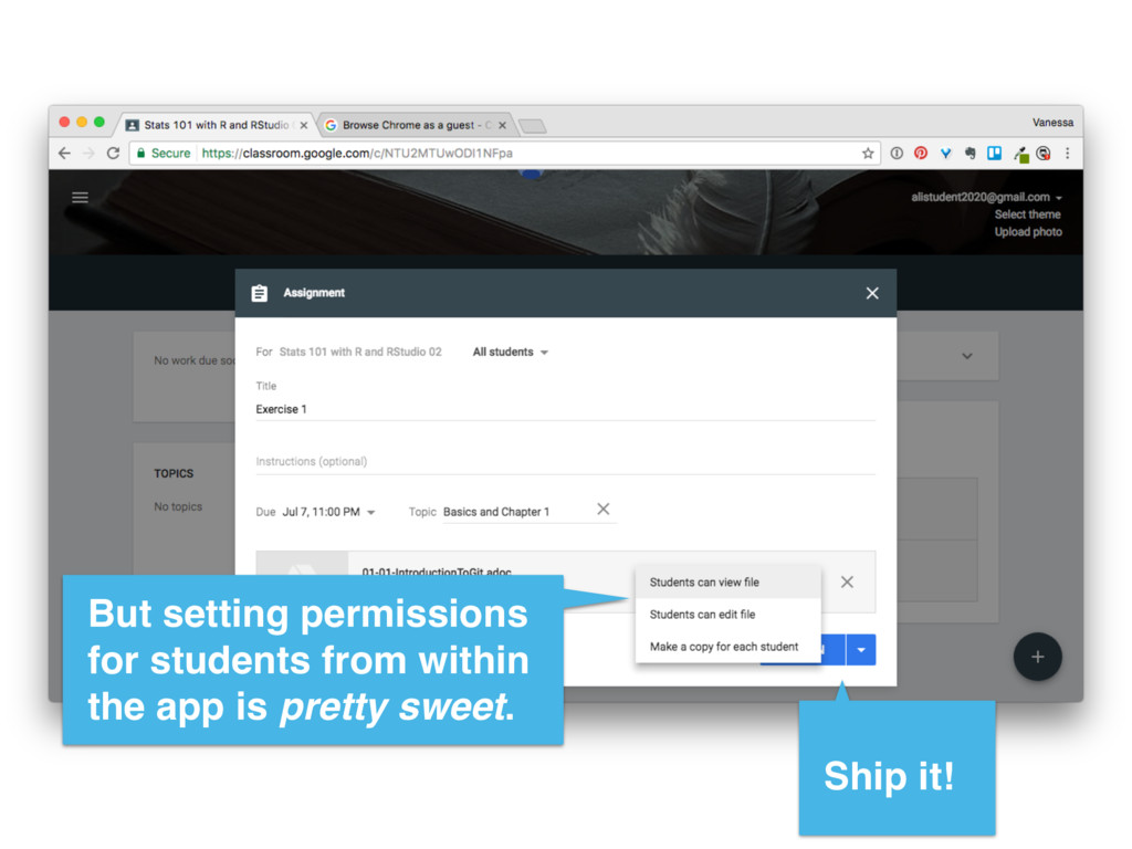 But setting permissions for students from withi...