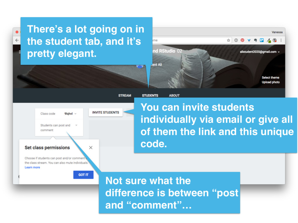 There's a lot going on in the student tab, and ...