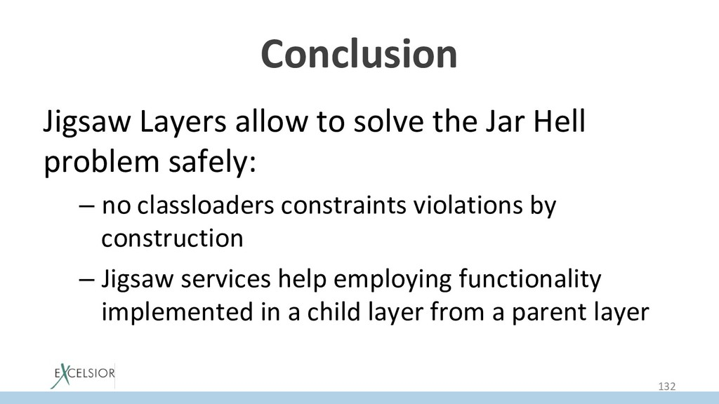 Conclusion Jigsaw Layers allow to solve the Jar...