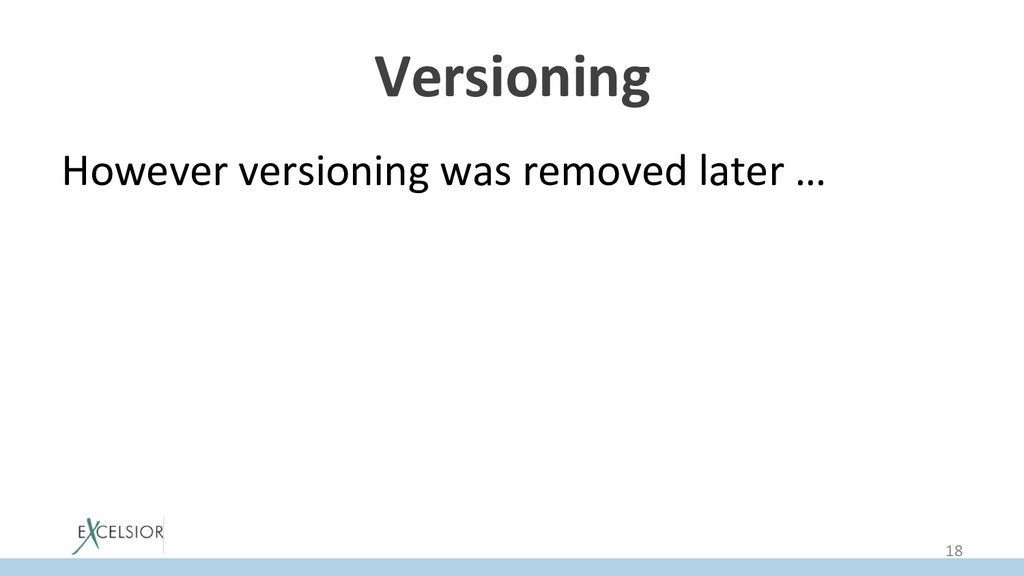 Versioning However versioning was removed later...