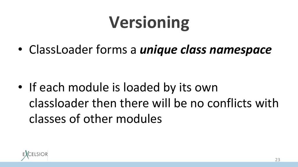 Versioning • ClassLoader forms a unique class ...